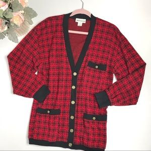 Vintage Red Houndstooth Cardigan Sweater